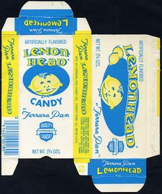 Ferrara Pan - Lemonhead two-sided candy box - 1970's