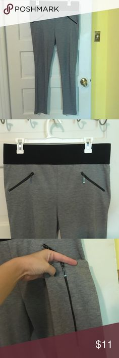Chic gray xl Bar III leggings These are cute gray leggings with fun zipper details at the hips and ankles. They're high rise and have a nice broad stretchy waistband. Super chic! Bar III Pants Leggings