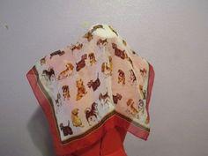 Scarf-Vintage-with-Dog-Print-Design-Various-Breeds-RED-WHITE-BLACK-BROWN