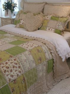 Shabby Chic Green Floral Ruffle King Size Patchwork Quilt 100 Cotton   eBay