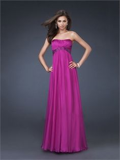 A-line Strapless Scoop Neckline with Beadings Floor Length Chiffon Prom Dress PD10931 www.dresseshouse.co.uk $115.0000