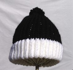 Black and white beanie