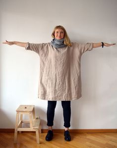 Linen Tunic Dress, Oversized Tunic, womens tunic, plus size tunic, linen tunics for women, linen dress with sleeves, natural linen dress by Linenbeeshop on Etsy https://www.etsy.com/uk/listing/256531352/linen-tunic-dress-oversized-tunic-womens
