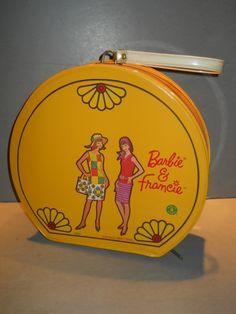 VHTF Yellow Vintage Barbie Francie Color Magic Hatbox Case