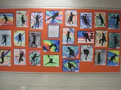 Action silhouettes - watercolor backgrounds with motion