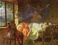 A Dream of a Girl Before a Sunrise, Karl Bryullov Medium: watercolor,paper States Of Consciousness, Mary Cassatt, Lazy People, Carl Jung, Breakfast In Bed, Watercolor Paper, Art Forms, Dreaming Of You, Art Nouveau
