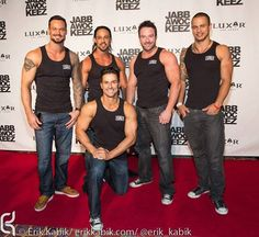 Australia's Thunder From Down Under @Linda Storm Vegas on the red carpet celebrating the opening of PRiSM, the Jabbawockeez new show at The Luxor Hotel and Casino. www.thunderfromdownunder.com www.facebook.com/thundervegas