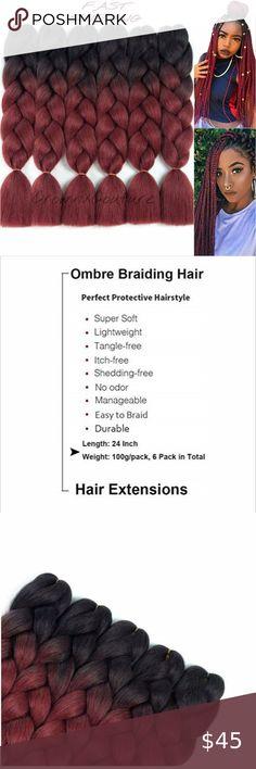 Jumbo Braiding Hair, Jumbo Box Braids, Braid Accessories, Wholesale Human Hair, Fulani Braids, Style Box, Double Braid, Braid In Hair Extensions, Red Ombre