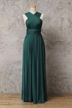 ab3ea3be27a Emerald green jersey convertible A line long multiway bridesmaid dress  Infinity Dress Bridesmaid