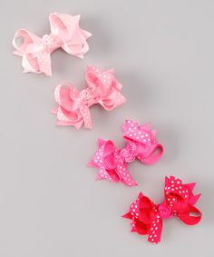 Another great find on #zulily! Hot Pink Polka Dot Bow Clip Set #zulilyfinds