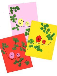 Toddler Crafts, Diy Crafts For Kids, Fingerprint Crafts, Fingerprint Jewelry, Bird Cards, Mothers Day Crafts, Spring Crafts, Pin Collection, Making Ideas