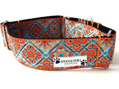 "Dog Collars! / Martingale Dog Collar Taj Mahal Orange and Blue 1.5"" by Dogologie Designs, $23.00"