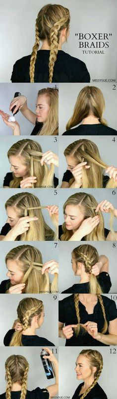Festival Hair Tutorials - Two Dutch Braids - Short Quick and Easy Tutorial Guides and How Tos for Braids, Curly Hair, Long Hair, Medium Hair, and that Perfect Updo - Great Ideas for That Summer Music Edm Show, Whether It's A New Hair Color or Some Awesome Accessories and Flowers - Boho and Bohemian Styles with Glitter and a Headband - thegoddess.com/festival-hair-tutorials