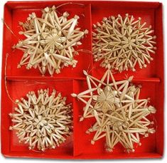 Box of 16 Straw Star Ornaments