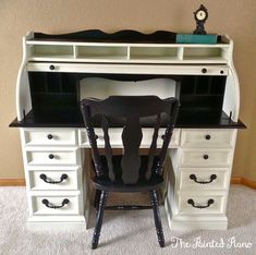 painted rolltop desk : ivory and black  www.facebook.com/ThePaintedPiano