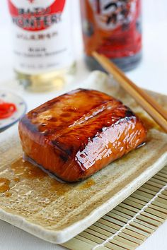 Salmon Teriyaki Recipe, simple salmon recipe with teriyaki sauce. Healthy, yummy, and easy to make  | http://rasamalaysia.com