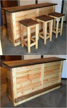 20 Brilliant DIY Pallet Furniture Design Ideas to Inspire You - diy pallet creations Wooden Pallet Projects, Wooden Pallet Furniture, Woodworking Projects Diy, Wooden Pallets, Pallet Ideas, Diy Pallet Bar, Pallet Tables, 1001 Pallets, Pallet Wood