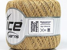 Daphne Cotton Metallic Gold Camel  Ne: 10/3 Nm: 17/3 Fiber Content 96% Mercerised Cotton, 4% Metallic Lurex, Brand Ice Yarns, Gold, Camel, Yarn Thickness 1 SuperFine  Sock, Fingering, Baby, fnt2-54759 Ice Yarns, Round Sunglasses, Fiber, Content, Metallic Gold, Sock, Round Frame Sunglasses, Low Fiber Foods, Socks
