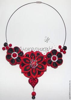 Колье с цветами канзаши в интернет-магазине на Ярмарке Мастеров