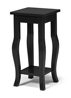 Kate And Laurel Lillian Wood Pedestal End Table Curved Legs With Shelf, 24  Inches Tall