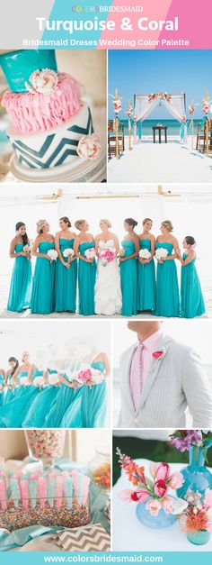 Turquoise bridesmaid dresses for romantic Summer Beach Wedding color palettes great with wedding cakes, flowers and decorations in coral accent color. Beach Wedding Bridesmaid Dresses, Turquoise Bridesmaid Dresses, Beach Wedding Colors, Blue Wedding, Bridesmaids, Vintage Wedding Photography, Wedding Color Schemes, Outfit, Bridal