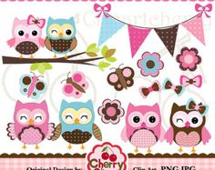 Red Blue cute owls and butterflies digital by Cherryclipart
