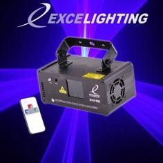 Laser Excelighting B450 Dmx  Un laser accrocheur Bleu utilisant des balayeurs de haute qualité.  Mouvements sans à coups et continus, plus de 100 effets volumétriques, formes  géométriques, tunnels, plafonds … Shows laser préprogrammés merveilleux adaptés à toute utilisation : Salles d'attente  bar, discothèques, DJ mobiles etc.  Laser de classe 3B basé sur un laser Bleu 445nm 450mW.