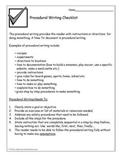 procedure writing checklist
