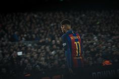 Neymar Jr. of FC Barcelona looks on during the La Liga match between FC Barcelona and RCD Espanyol at the Camp Nou stadium on December 18, 2016 in Barcelona, Catalonia.