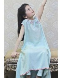 Turquoise Cotton A-Line Dress Cute Baby Dresses, Girls Casual Dresses, Lovely Dresses, Flower Girl Dresses, Pakistani Lawn Suits, Pakistani Girl, Party Dresses Online, Girls Party Dress, Girls Wear