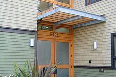 Front exterior to a contemporary home.