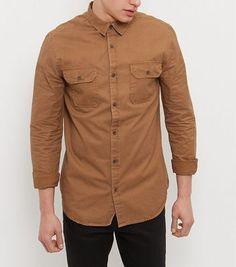 Camel Double Pocket Long Sleeve Shirt - New Look