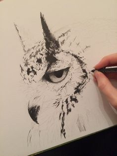 Work in progress by charlieanneart #penandink #owl #illustration #pointillism #drawing #realism #pen #ink #dotwork #sketch
