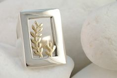 Olive Branch Ring, Solid Sterling Silver and Solid 14K Gold on Etsy, $392.93