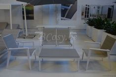 Gescova Azur Aida Wit Aluminium Buitentuin outdoor Lounge zetelset Tuinsalonset Lichtgrijs Textileen