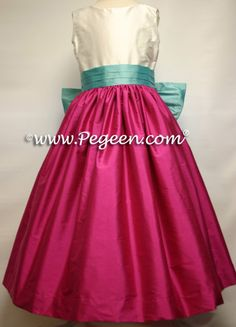 Flower girl dresses with a magenta pink skirt, new ivory bodice and tiffany sash, Pegeen Classic style 398 available in 200+ colors of silk from infants through plus sizes