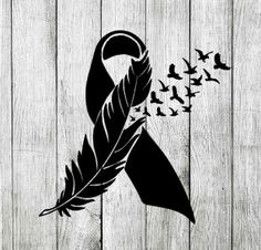 Cancer Awareness Ribbon with Feather Birds Decal Cling Sticker for Window, Car, Tablet, Laptop, Cup – cricut Band Tattoos, Mom Tattoos, Trendy Tattoos, Future Tattoos, Body Art Tattoos, Tatoos, Tattoos Skull, Melanoma Tattoo, Breast Cancer Tattoos