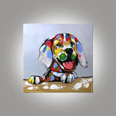 Dog canvas painting acrylic pet painting pop art anilmal portrait Wall Art pictures for living room home decor hand-made abstract painting Dog Canvas Painting, Animal Paintings, Canvas Wall Art, Painting Abstract, Painting Art, Acrylic Paintings, Framed Canvas, Portrait Wall, Dog Portraits