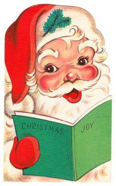 Mirthful Santa - Vintage Christmas Card