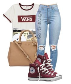 """Vans"" by str8-savage ❤ liked on Polyvore featuring Vans, Ray-Ban and Converse"