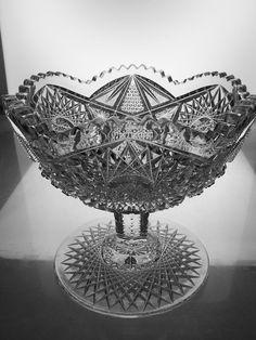 AMERICAN BRILLIANT CUT GLASS CRYSTAL ANTIQUE FANCY PEDESTAL BOWL 1900S ABP in American Brilliant   eBay