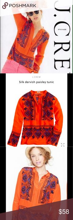 🧡J crew SILK TUNIC SILK dervish paisley tunic.  This is NOT the factory version‼️😁 This is the J crew top of the Line, 💯% SILK 🦋COLLECTION Version! SOLD OUT on Line🤷🏼♀️Mine is too small,hence this Listing. I waiting til I found it in the next size (Large) to let my size Medium go. You will get tons of compliments on this tunic🧡 Wear it with your blue jeans 👖 or your white jeans, depending on the Season❓STUNNING 😉 Excellent used Condition🧡 STYLE 85687 J. Crew Tops Tunics