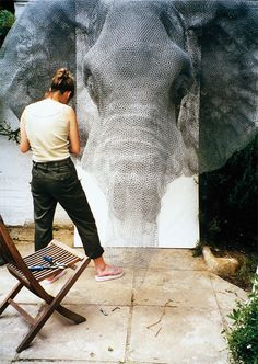 Kendra Haste working on a elephant wire sculptures         #artist #artistatwork #studio