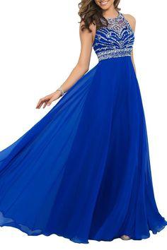 Elegant Royal Blue Chiffon A-line Prom Dress 2015 Halter Beading Long Prom Dress New (US10, Royal Blue)