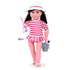 Is your Our Generation doll off on a fishing trip? This fun and stylish fishing outfit has all the accessories your doll will need, including a hat and sunglasses to protect her from the sun.