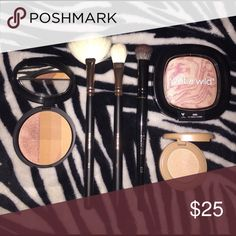 """Highlights & brushes lot! This set comes with 3 Morphe brushes: R12 fan brush, T31 highlighting brush, E20 concealer/ cream brush, Wet n wild I'll have a cosmo highlighter, Tarte travel size """"Exposed"""" cream highlighter, Laura Geller Dream Creams concealer & highlight palette in regular/ tan. All the brushes have been used & washed/ sanitized. All highlights are NEW! Makeup"""