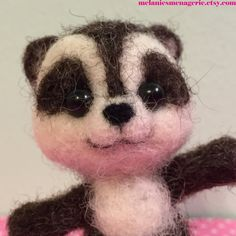 Felted Raccoon / Soft Scultpture / Forest by MelaniesMenagerie