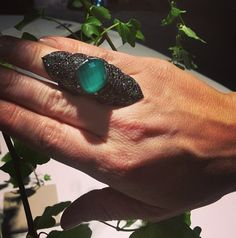 SW Green Agate Deco Long Finger Ring. Instagram @stephenwebsterjewellery