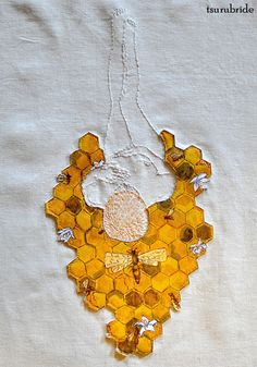 Queen Bee embroidery & hand painted leather applique on linen Meghan Willis Bee Embroidery, Indie Art, Contemporary Embroidery, Painting Leather, Heirloom Sewing, Textiles, Handmade Design, Love Art, Textile Art