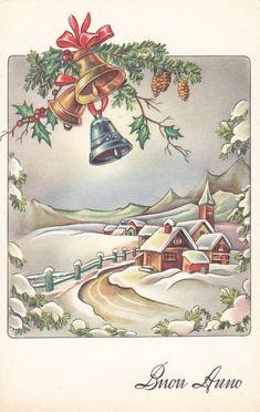 Old Christmas, Old Fashioned Christmas, Christmas Scenes, Vintage Christmas Cards, Retro Christmas, Christmas Bells, Christmas Images, Christmas Wrapping, Xmas Cards